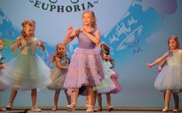 Russia, St. Petersburg 01,06,2019 Charitable XVII Festival of Children`s Creativity. Russia, St. Petersburg 01,06,2019 Children in dresses, fashion show stock image