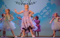Russia, St. Petersburg 01,06,2019 Charitable XVII Festival of Children`s Creativity. Russia, St. Petersburg 01,06,2019 Children in dresses, fashion show royalty free stock image