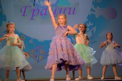 Russia, St. Petersburg 01,06,2019 Charitable XVII Festival of Children`s Creativity. Russia, St. Petersburg 01,06,2019 Children in dresses, fashion show royalty free stock images