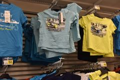 Children's T-shirts in the supermarket. Russia, St. Petersburg, 07/29/2017 Children's T-shirts in the supermarket Royalty Free Stock Photos