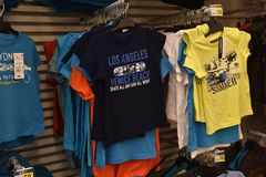 Children's T-shirts in the supermarket. Russia, St. Petersburg, 07/29/2017 Children's T-shirts in the supermarket Stock Image