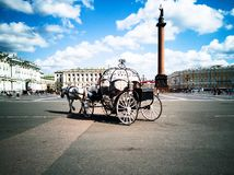 Horse-drawn carriages, Palace Square royalty free stock photography