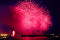 Russia, St. Petersburg, 20.6.2015: Fireworks on the Neva River o. N a holiday SCARLET SAILS diluted Troitsky Bridge, Rastralnye colony on the Spit of Vasilyevsky Stock Images