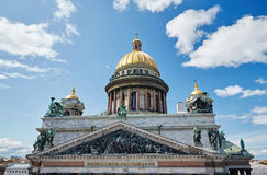 Russia, St. Petersburg, Isaac's Cathedral, 07.14.2015. A view of Isaac's Cathedral from 5 floors of the hotel 4 season, around the cathedral are many tour buses Stock Photo