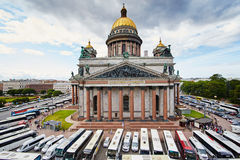 Russia, St. Petersburg, Isaac's Cathedral, 07.14.2015. A view of Isaac's Cathedral from 5 floors of the hotel 4 season, around the cathedral are many tour buses Stock Images