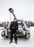 Russia St. Petersburg. January 25, 2015.Wehrmacht tankman posing. Russia St. Petersburg. January 25, 2015. military history clubs spend renovating the breakout royalty free stock image