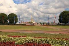 Russia, St. Petersburg, July 3, 2018, Birzhevaya Square on the Spit of Vasilyevsky Island. royalty free stock image