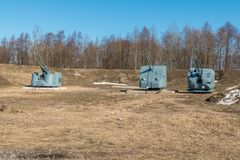 The Patriot Park. Ship artillery at the exhibition. Russia St. Petersburg Kronstadt. Early spring. The Patriot Park. Ship artillery at the exhibition royalty free stock image
