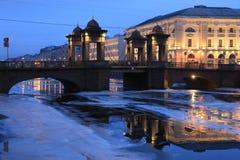 Russia, St. Petersburg, Lomonosov bridge in the winter morning royalty free stock image