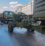 Russia, St. Petersburg, 7 may 2017, the rehearsal of the victory. Parade - a column of artillery on the quay Royalty Free Stock Photography