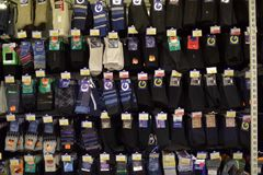 Men's socks in the supermarket Stock Image