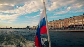 Russia St. Petersburg Neva River motor vessel flag of Russia. Russia St. Petersburg Neva River motor vessel flag Russia stock footage