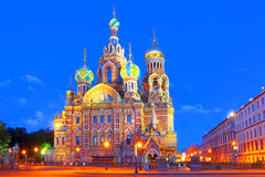 Russia, St  Petersburg  Night look  Cathedral Church of the Savior on Blood Stock Images