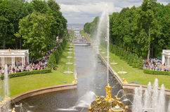RUSSIA, ST. PETERSBURG, PETERHOF. ST PETERSBURG, RUSSIA - JUNE 13, 2014: Petrodvorets, golden statues in the Lower Park. Petrodvorets is a popular tourists Royalty Free Stock Images