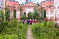 Russia, St. Petersburg, Priozersk, August 2016:Tourists near the Lutheran Church of Jaakkima Royalty Free Stock Photos