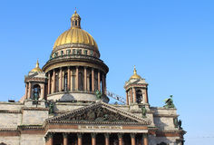 Russia, St.Petersburg. Saint Isaac's Cathedral, the colonnade observation point Stock Photography