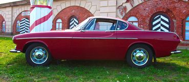 Legendary Swedish sports car Volvo P1800 on Festival of Retro Te. Russia, St. Petersburg, September 8, 2018: Legendary Swedish sports car Volvo P1800 on Festival royalty free stock photos