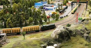 Locomotive transports wagons with planks stock video