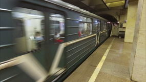 Russia St. Petersburg subway train arrival. Russia St. Petersburg and subway train arrival stock video footage