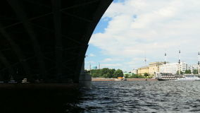 Russia St. Petersburg summer River Neva under the bridge stock video