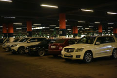 Russia, St.Petersburg, 22,07,2017 Underground parking of a large. Shopping center Royalty Free Stock Photography