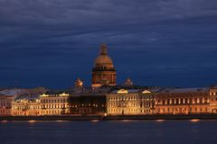 Russia, St. Petersburg, view of St. Isaac`s Cathedral from the Neva Stock Photos