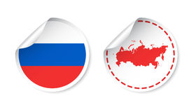 Russia sticker with flag and map. Russian Federation label, roun. D tag with country. Vector illustration on white background Stock Photo
