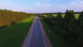 Russia. Straight empty asphalt road and alley with trees and blue sky stock footage