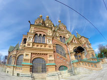 Russia, suburb of Saint Petersburg, the St. Peter and Paul Church. Stock Photo