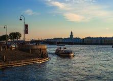 Russia. Summer.Saint-Petersburg. Neva river Boating. Stroll.Tourists. Historic centre. stock image