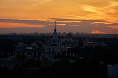 Russia. Sunset over the park Exhibition of Economic Achievements in Moscow. Russia. Moscow. Sunset over the park Exhibition of Economic Achievements in Moscow Stock Image