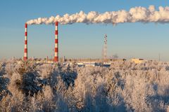 Surgut GRES-1 thermal power plant in winter stock photography