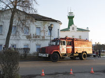 Russia, Suzdal - 06.11.2011. Fire truck on Kremlin  street Royalty Free Stock Image