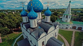 Russia, Suzdal, the Kremlin, shooting (air) stock footage