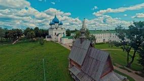 Russia, Suzdal, the Kremlin, shooting (air) stock video