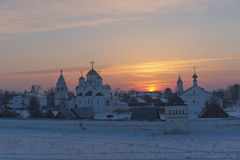 Russia. Suzdal in March. Sunset over the Pokrovsky Stock Image
