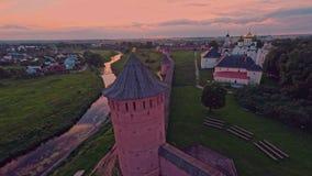 Russia, Suzdal, monastery of Saint Euthymius shooting (air) stock footage