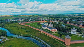 Russia, Suzdal, monastery of Saint Euthymius, shooting (air) stock video footage