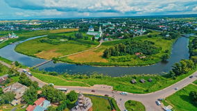 Russia, Suzdal, an old Church, shooting (air) stock video