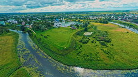 Russia, Suzdal, an old Church, shooting (air) stock footage