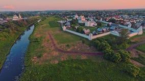 Russia, Suzdal, Pokrovsky monastery, shooting (air) stock footage