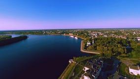 Russia, Suzdal, Pokrovsky monastery, shooting (air) stock video footage