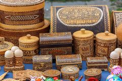 Russia, Suzdal, September 2017. Sale of souvenirs from birch bark handmade. stock photo