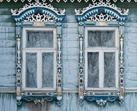 Russia. Suzdal. Two windows with carved wooden stock images