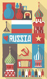 Russia symbols on a poster or postcard Stock Image