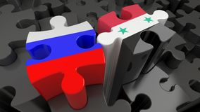 Russia and Syria flags on puzzle pieces. Political relationship concept. 3D rendering stock illustration