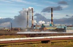 Russia. Taimyr. Norilsk. Ecological disaster. Nadezhdensky metallurgical works Stock Image