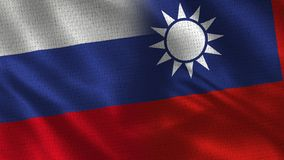 Russia and Taiwan - Two Flag Together - Fabric Texture stock photos