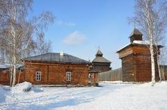 Russia, Taltsy village. The Spasskaya Savior`s tower of Ilimsk Stockaded town, 1667 year built