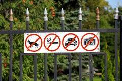 Russia. Tambov. Prohibiting signs on the fence Kazan Monastery. Prohibiting signs on the fence Kazan Monastery Stock Images